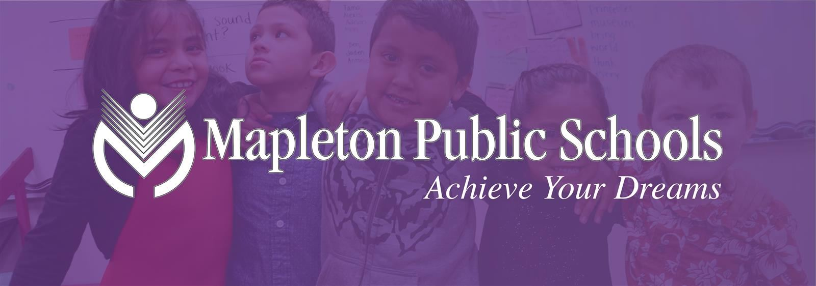 Kids posing for photo with Mapleton logo