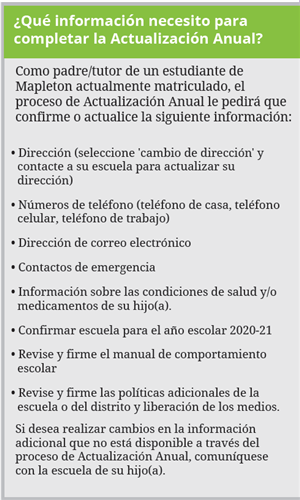 needed information for the annual update in spanish
