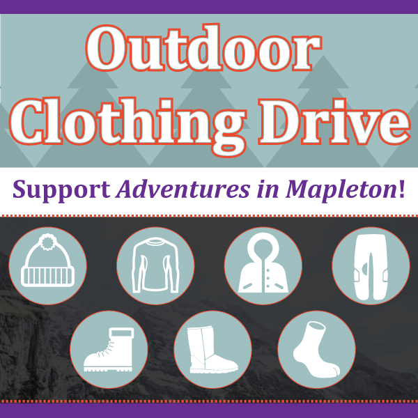 Support Adventure in Mapleton at our Outdoor Clothing Drive!