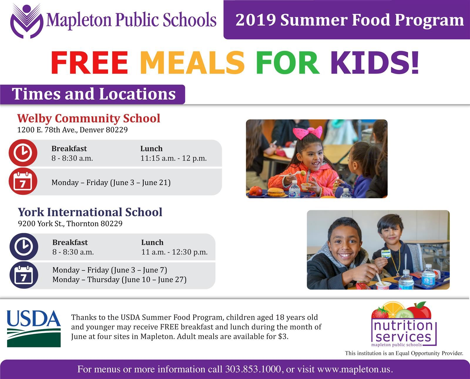 English summer food program flier