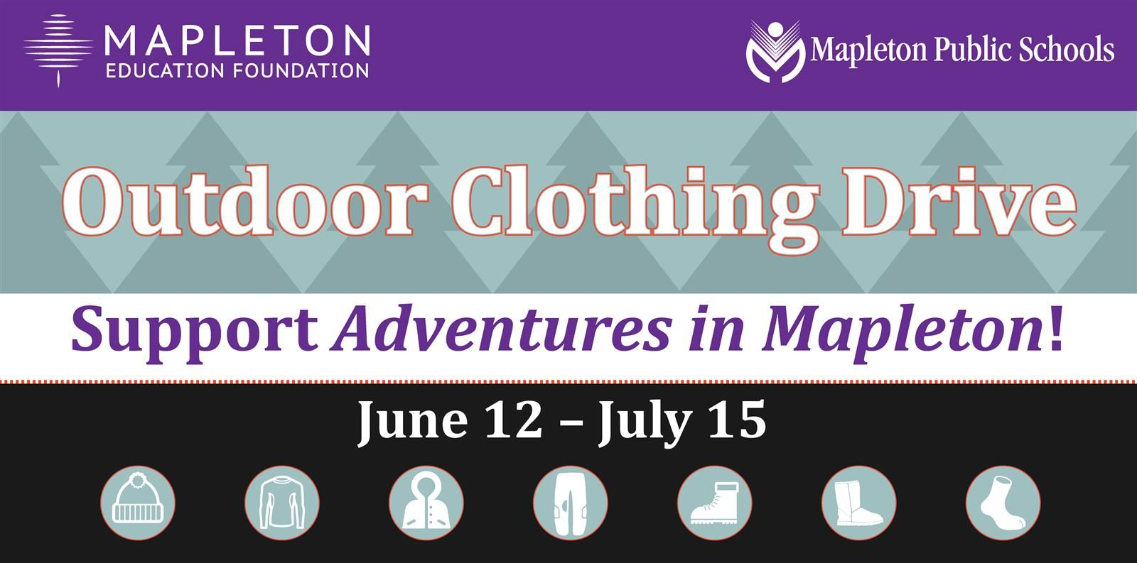 a2ff0a272052 Mapleton's Outdoor Clothing Drive, June 12 through July 15