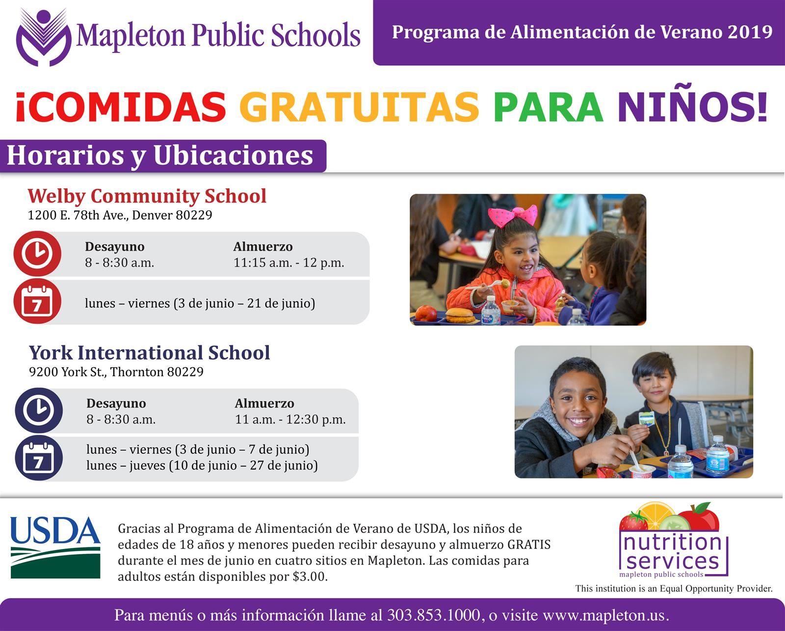 Spanish summer food program flier